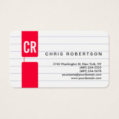 Monogram Rounded Corner Lined Paper Business Card at Zazzle