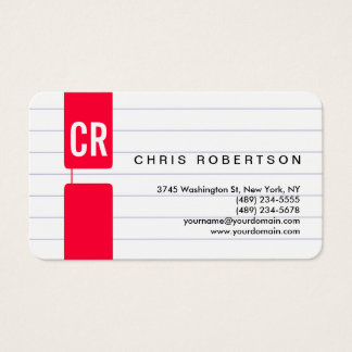 Monogram Rounded Corner Lined Paper Business Card