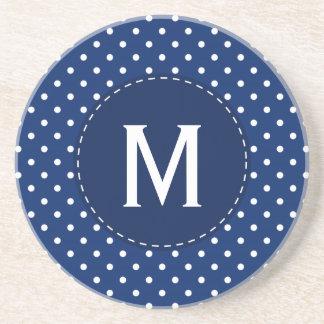 Monogram Royal Blue and White Polka Dot Pattern Beverage Coaster