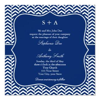 Monogram Royal Blue Chevron Pattern Wedding Card