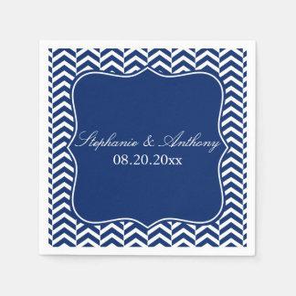 Monogram Royal Blue Chevron Pattern Wedding Napkin