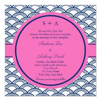 Monogram Royal Blue, Pink Seigaiha Wedding Card