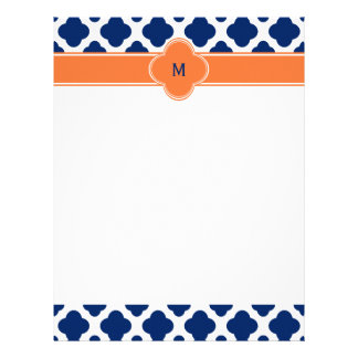 Monogram Royal Blue Quatrefoil Pattern with Orange Letterhead