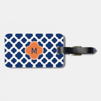 Monogram Royal Blue Quatrefoil Pattern with Orange Tags For Luggage