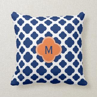 Monogram Royal Blue Quatrefoil Pattern with Orange Throw Pillow