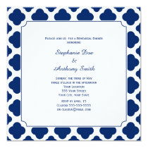 Monogram Royal Blue Quatrefoil Rehearsal Dinner Invitation