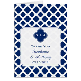 Monogram Royal Blue Quatrefoil  Wedding Thank You Card