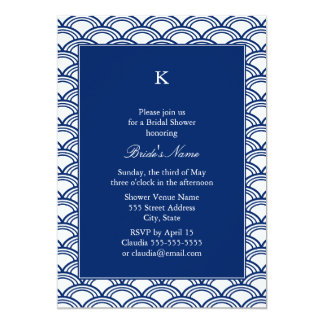 Monogram Royal Blue Seigaiha Pattern Bridal Shower Card