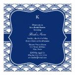Monogram Royal Blue Seigaiha Pattern Rehearsal Card