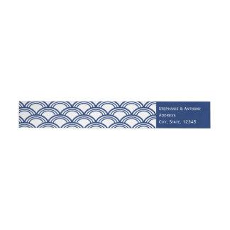 Monogram Royal Blue Seigaiha Pattern Wedding Wrap Around Label