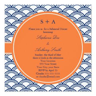 Monogram Royal Blue Seigaiha Pattern with Orange Card