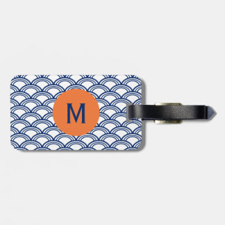 Monogram Royal Blue Seigaiha Pattern with Orange Tags For Bags