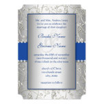 Monogram Royal Blue Silver Swirl Wedding Personalized Announcement