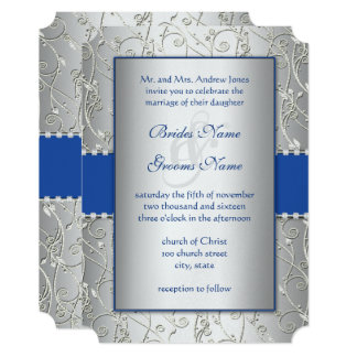 Monogram Royal Blue Silver Wedding Invitations