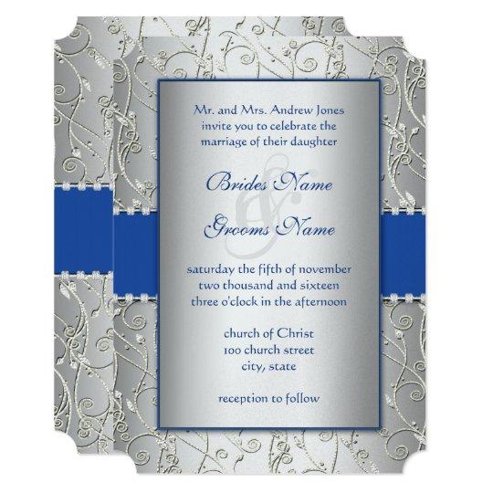 Monogram Royal Blue Silver Wedding Invitations Zazzlecom