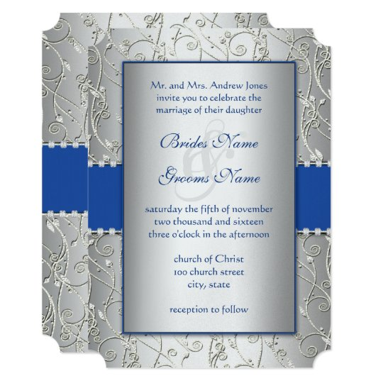 Monogram Royal Blue Silver Wedding Invitations Zazzlecom