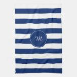 Monogram Royal Blue Striped Kitchen Towels