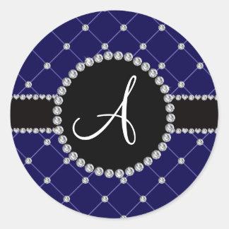 Monogram royal blue tuft diamonds classic round sticker
