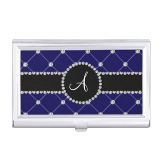 Monogram royal blue tuft diamonds business card case