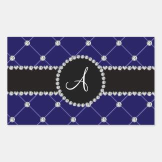Monogram royal blue tuft diamonds rectangular sticker