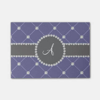 Monogram royal blue tuft diamonds post-it® notes