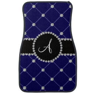 Monogram royal blue tuft diamonds floor mat
