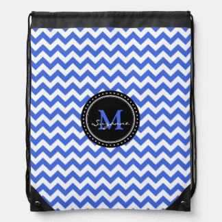 Monogram Royal Blue White Abstract Chevron Drawstring Bag