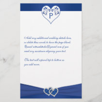 Monogram Royal Blue White Floral Hearts Stationery