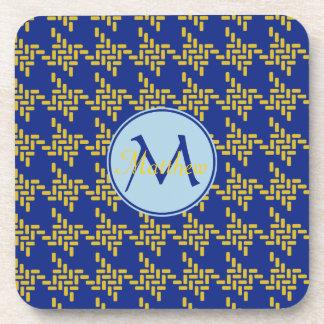 Monogram Royal Blue Yellow Japanese Chidorigoshi Coaster