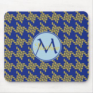 Monogram Royal Blue Yellow Japanese Chidorigoshi Mouse Pad