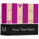 Monogram Royal Fuchsia Stripe Modern Heart Pattern 3 Ring Binder