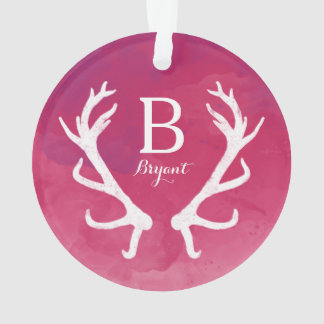 Monogram Rustic Antlers Watercolor Bright Pink Ornament