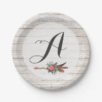 Monogram Rustic Bohemian Feathers Arrow Wedding Paper Plate