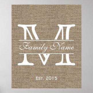 Monogram Rustic Burlap Family Name Poster