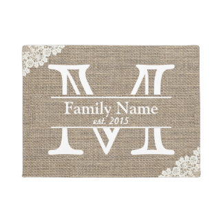 Monogram Rustic Burlap & Lace Family Name Doormat