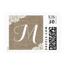 Monogram Rustic Burlap & Lace Wedding Postage