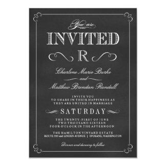 Monogram Rustic Chalkboard Wedding Invitations