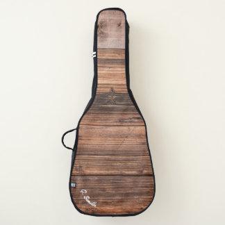 Monogram. Rustic Dark Wood Panel. Guitar Case
