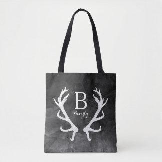 Monogram Rustic Deer Antlers on Black Watercolor Tote Bag