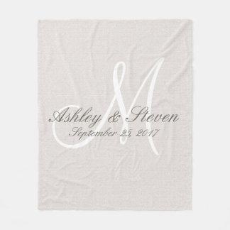 Monogram   Rustic Linen Fleece Blanket