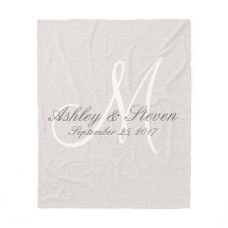Monogram | Rustic Linen Fleece Blanket