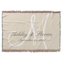 Monogram | Rustic Linen Look Throw Blanket