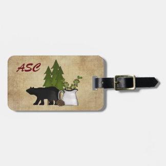 Monogram Rustic Mountain Bear Luggage Tag