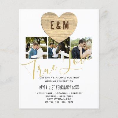 Monogram Rustic Photo Collage Love Heart Wedding