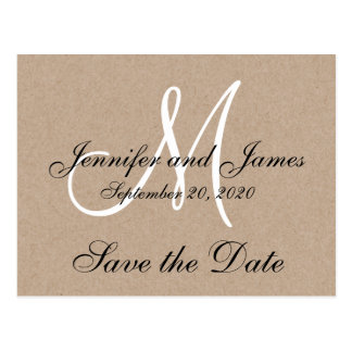 Monogram Rustic Save the Date Post Card