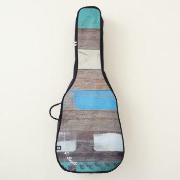 Beach Themed Monogram. Rustic Weathered Beach Wood Panels. Guitar Case