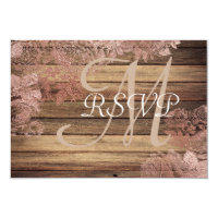 Monogram Rustic Wood Rose Lace Wedding RSVP Card