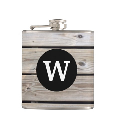 Monogram Rustic Wood Slats Background Flask