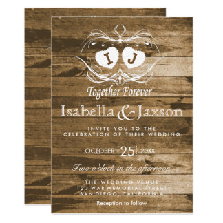Monogram Rustic Wood Wedding Invitation