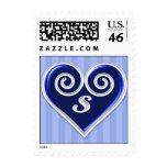 Monogram S Blue Heart Stamp